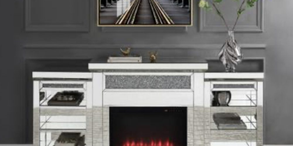 Mirror Tv stand/TV stand with fireplace